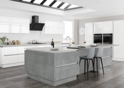 Moderna Image Gloss White with Tempo Boston Concrete